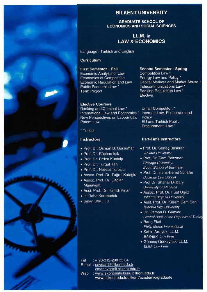 Bilkent University LL M  in Law  Economics