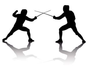 silhouettes of athletes fencers